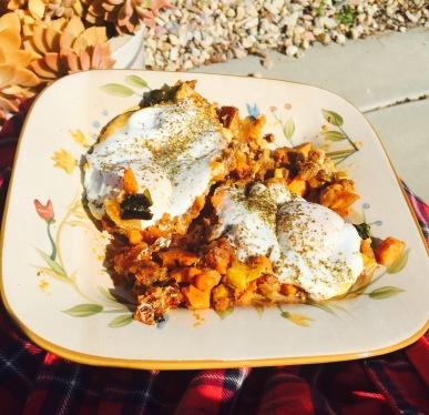 poached eggs with sweet potato chorizo hash