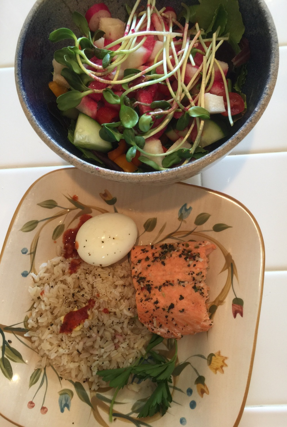 Salad, Salmon, Egg and Brown Rice Lunch